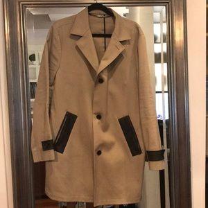 Michael Kors Khaki and Leather Trench Coat